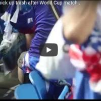 Јапонските навивачи ја чистеа трибината по натпреварот со Колумбија