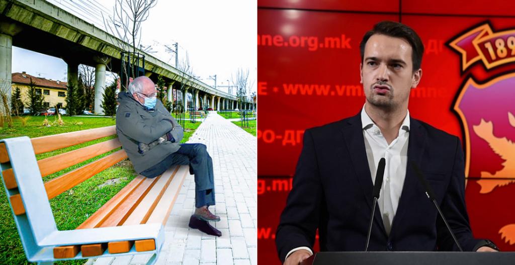 """Град Скопје го седна Сандерс на новите клупички – Нелоски се пофали дека ги """"фатил"""" со фотошоп"""