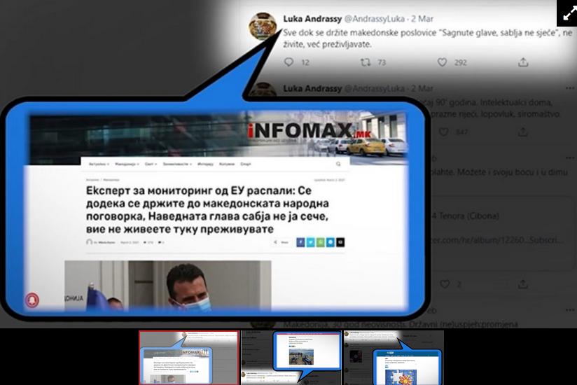 Твитерџија кој ја критикува власта е претставуван во портали како експерт на ЕУ-проект